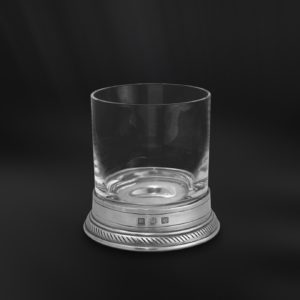 Bicchiere da whisky old-fashioned in peltro e cristallo (Art.856)